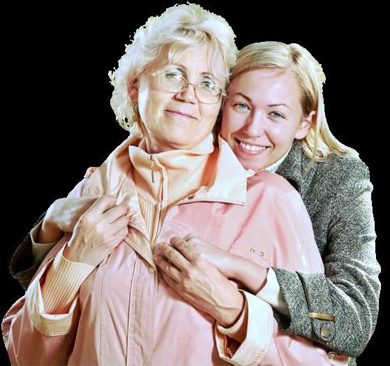 caregiver hugged senior woman