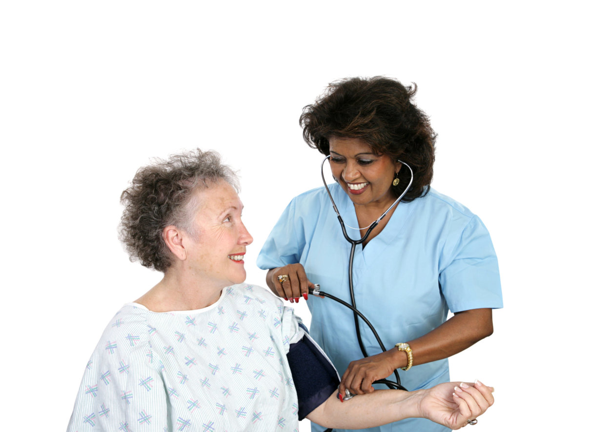 caregiver doing blood pressure monitoring